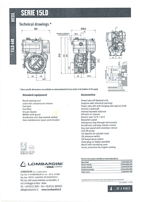 diesel engine lombardini license 15ld440 11 ps with electric start rh snowmobil com